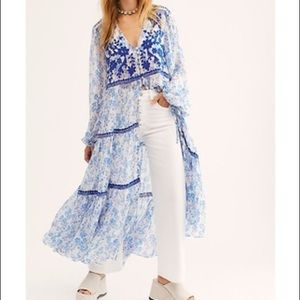 NWOT FREE PEOPLE CALL ON ME EMBROIDERED MAXI TOP